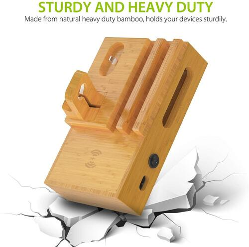 CHGeek 100% Natural Heavy Duty Bamboo Charging Station with a Fan for Overheating Protection