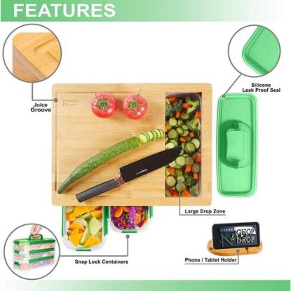 Chop N Drop 100 % Organic Bamboo Cutting Board with Leak Proof Containers
