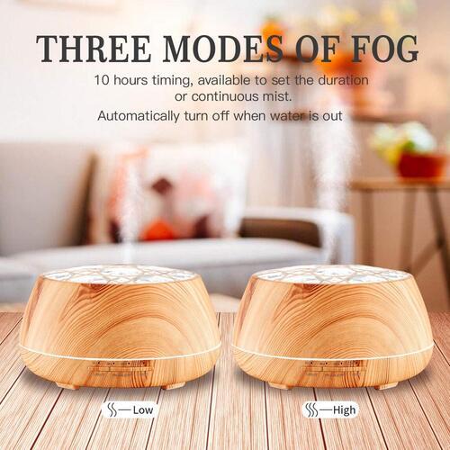 LAOPAO 400ml Wood Grain Ultrasonic Essential Oil Diffuser with Very Quiet Design