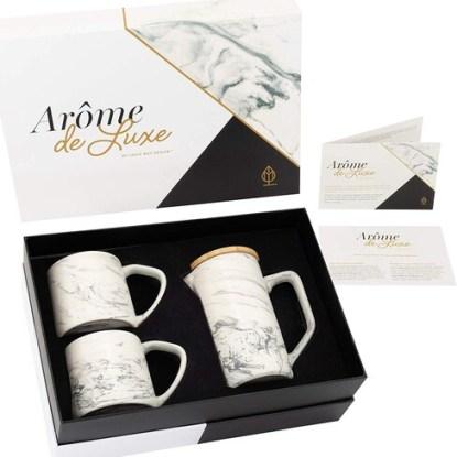 Louie May Design Arôme de Luxe 28 oz Ceramic Marble Coffee Press with 2 Ceramic Marble Ergonomic Mugs