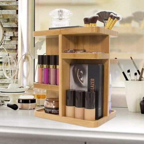Sorbus 360° bamboo makeup organizer includes specially crafted brush compartments with 3 openings for slim items