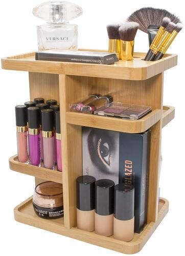 Sorbus bamboo makeup organizer includes a sturdy base with smooth and silent rotation