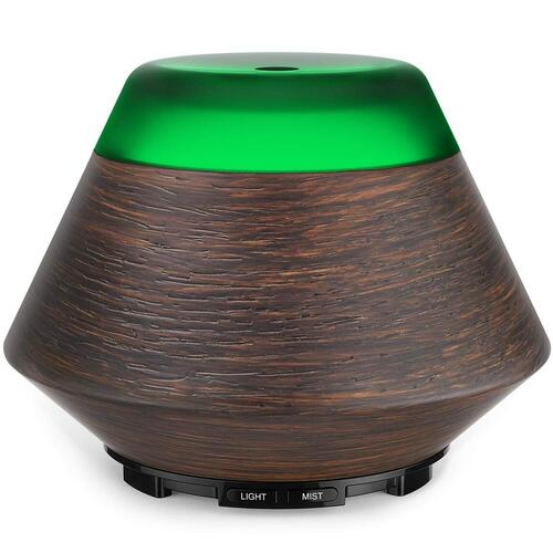 ASAKUKI 200ml Wood Ultrasonic Cool Mist Essential Oil Diffuser with 7 Color LED Light and Automatic Shut-off