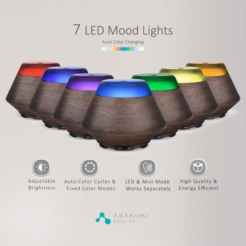 ASAKUKI 3D Natural Resin Finish Aromatherapy Fragrant Oil Diffuser with 7 Different LED Colors
