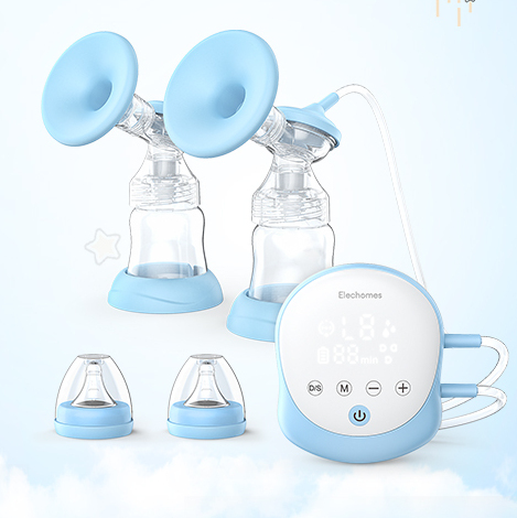 Elechomes Silicone Electric Double Breast Pump with 5 adjustable suction levels