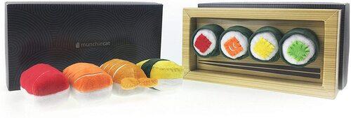 munchiecat 8pcs plush sushi toy set for cats in gift box