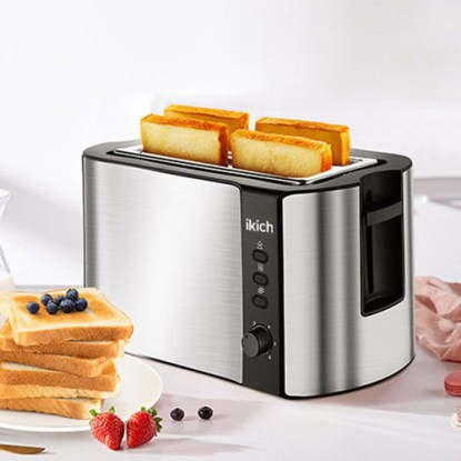 IKICH Stainless Steel 4 Slice Toaster with 6 Bread Browning Control
