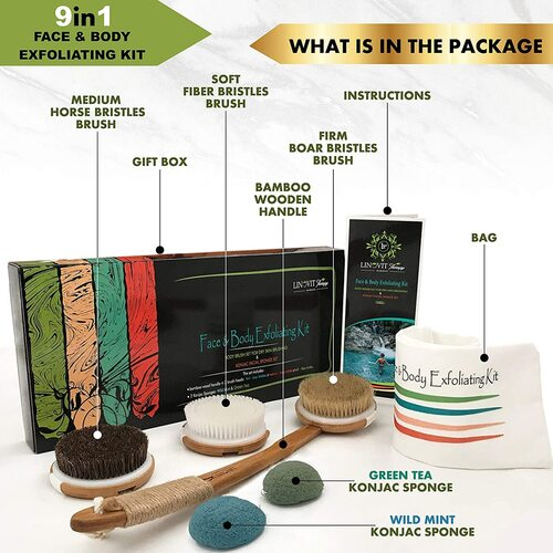 Linovit Therapy Premium Natural Bamboo Dry Skin Brush Exfoliating Kit in Beautiful Gift Box