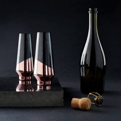 VISKI RAYE Dipped Tinted Crystal Champagne Flute Glass with Polished Copper Electroplating