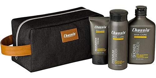 Chassis Premium Men's Care Gift Set included Body Powder, Shower Primer, Restoration Cream and Toiletry Bag