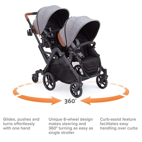 Contours Curve Tandem Double Baby Stroller with Parent Console and Child Tray Accessory
