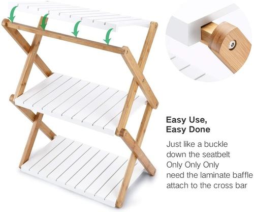 Nnewvante Modern 3 Tier Bamboo Foldable Open Shelf for Home