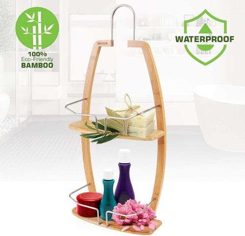 SereneLife 2 Tier Waterproof and Natural Bamboo Bathroom Wall Organizer