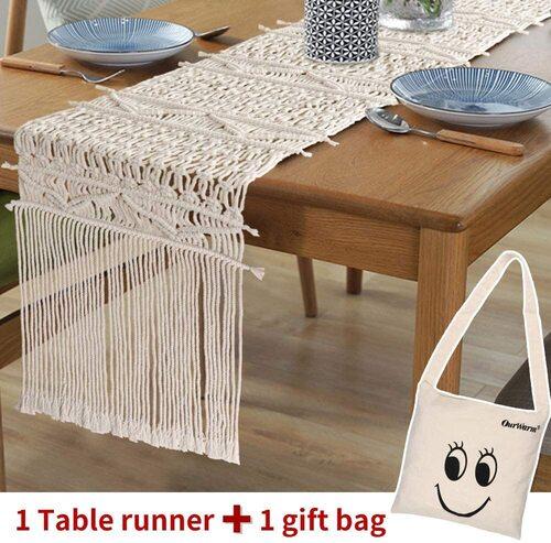 AerWo Macrame Bohemian Table Runner includes Canvas Gift Bag