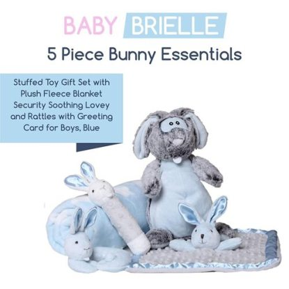 Baby Brielle 5 piece Stuffed Toy Gift Set with Plush Fleece Blanket Security Soothing Lovey and Rattles with Greeting Card for Boys, Blue