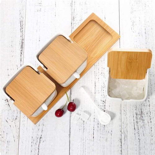 June Sky Ceramic Sugar Bowl with Bamboo Lids and Ceramic Spoons 3 piece Set