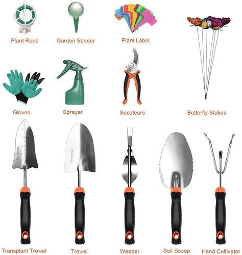 LANNIU 27 pcs Stainless Steel Gardening Tools Kit