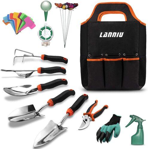 LANNIU 27 pieces Heavy-Duty Stainless Steel Gardening Tools Kit