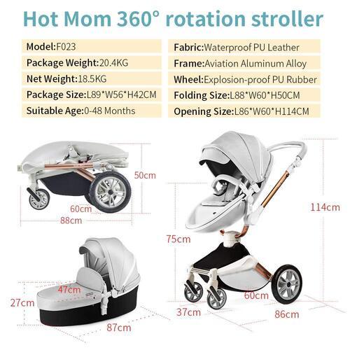 Hot Mom Luxury 360° degrees Smart Rotation Baby Stroller