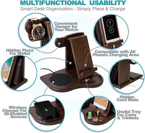 TESLYAR gift packaging wood phone docking station