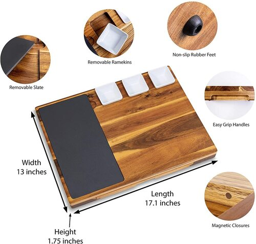 Real Life Living Acacia Cheese Board and Stainless Steel Accessory with Removable Slate