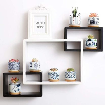T4U Japanese Style succulent plant pot set with bamboo tray