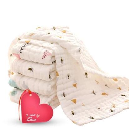 KOROTUS COLLECTION Baby Burp Cloths with 6 layers 100% organic muslin cotton