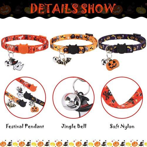 EXPAWLORER 3 pcs Halloween Cat Collar