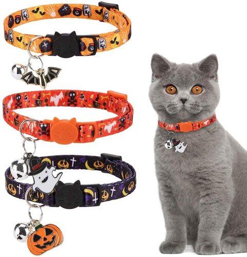 EXPAWLORER 3 pcs Halloween Pattern Cat Collar