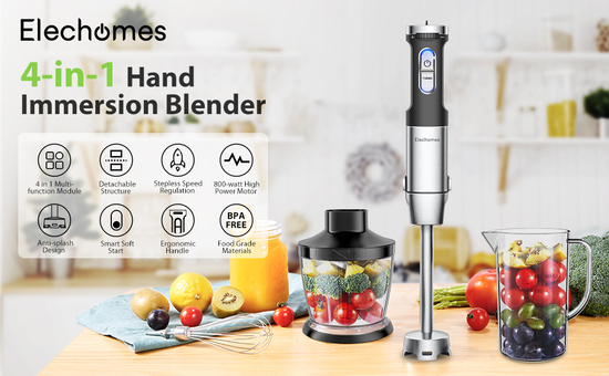 Elechomes Multi-use 4-in-1 Blender with S-shaped Blades, Splash-proof Design and Easy to Assemble