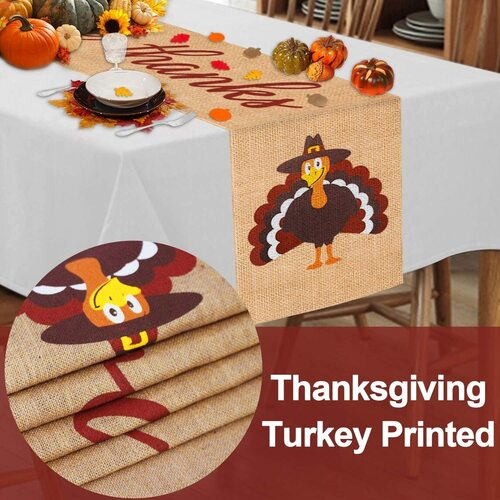 Mosoan Burlap Give Thanks Thanksgiving Turkey Table Runner Decor