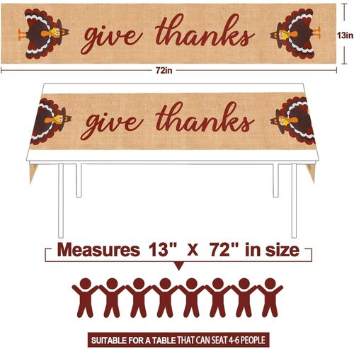 Mosoan Burlap Give Thanks Thanksgiving Turkey Table Runner