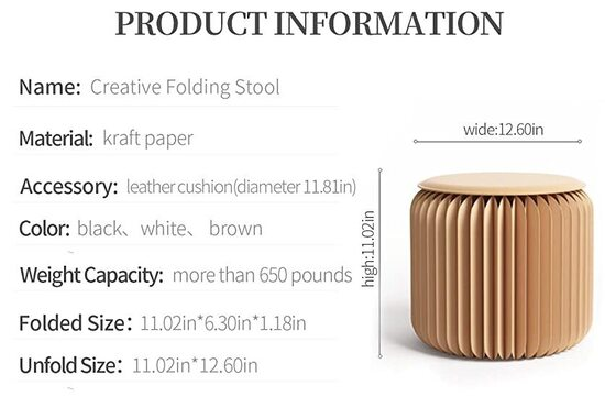 Tubeshine Kraft Paper Creative Folding Stool with Leather Cushion