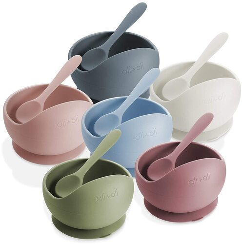 Ali+Oli Baby Silicone Suction Bowl and Spoon Dinnerware Set