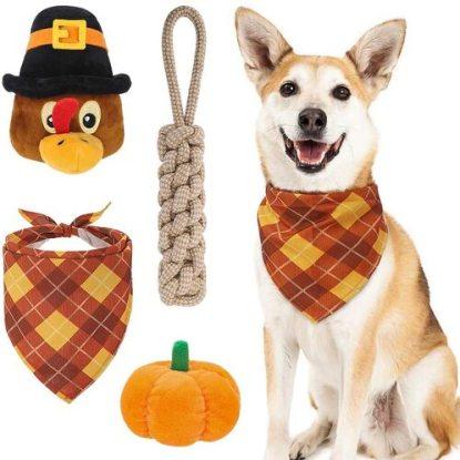 BINGPET 3pcs Thanksgiving Chew Dog Toys with Bandana