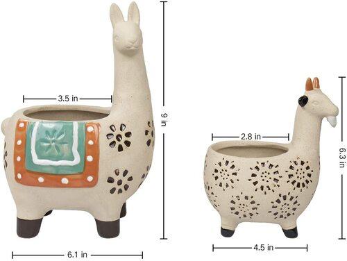 LA JOLIE MUSE 2 pcs Ceramic Animal Succulent Plant Pots