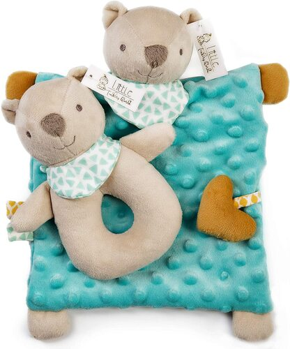 Little Tinkers World Baby Security Blanket & Cute Stuffed Bear Rattle Newborn Gift