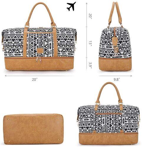 Plambag Faux Leather Weekend Travel Bag with Adjustable Shoulder Strap