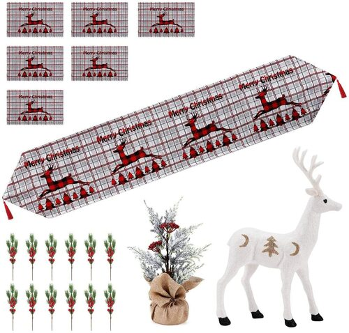 A Anleolife Decorative Christmas table runner and placemat set