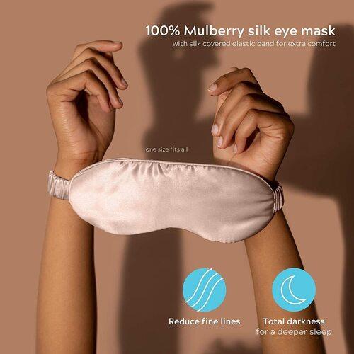 Colorado Home Co Nude Champagne Silk Pillowcase and Silk Sleep Mask Set for Better Hair, Skin and Sleep