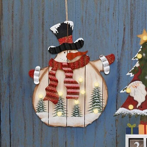 E-view Wood Snowman Hanging Christmas Sign with LED Bulbs