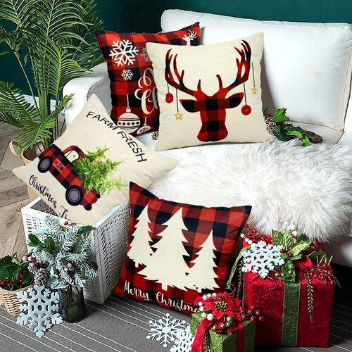 EZIGO 4pcs Decorative Christmas Themed Cotton Throw Pillow Covers 18x18 Inch for Christmas Decorations
