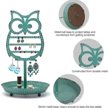 NIKKY HOME Shabby Chic Metal Owl Shape Jewelry Tower Holder