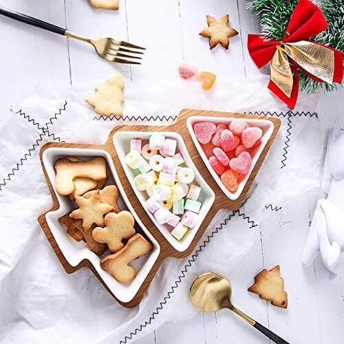 ROSE CREATE 3 piece Removable White Porcelain Plates with Bamboo Christmas Tree Shape Tray