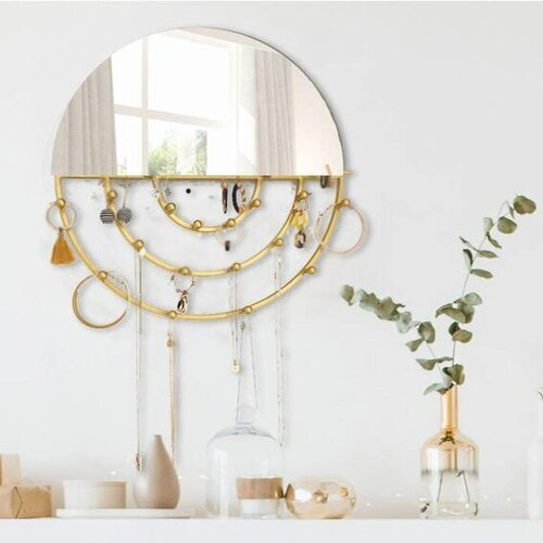 Round Gold Mirror and Wall Jewelry Organizer by Five Magpies