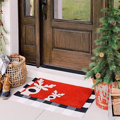 THEODORE MAGNUS Red - Reindeer Games Christmas Coir Doormat