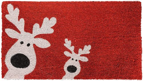 THEODORE MAGNUS Red - Reindeer Games Christmas Natural Coir Doormat with Non-Slip Rubber Backing
