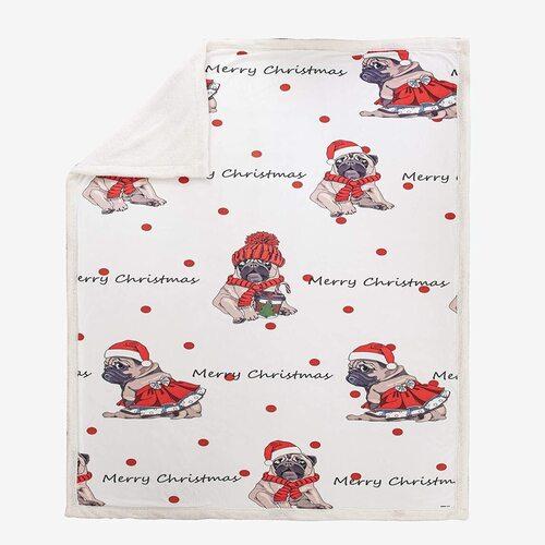 WONGS BEDDING 460 GSM Christmas Dog Themed Printing Decorative Throw Blanket