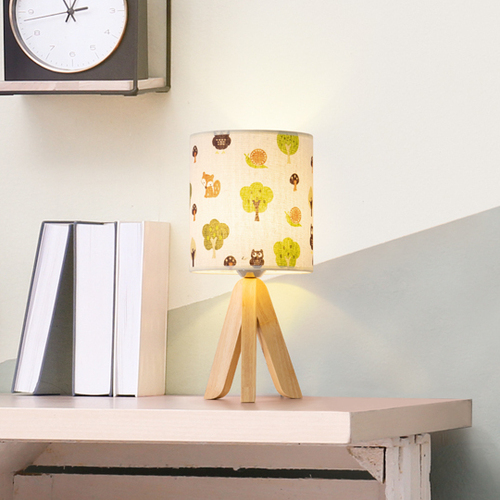 HAITRAL Cute Owl, Snail, Fox and Forest Design Tripod Table Lamp for Kids Room