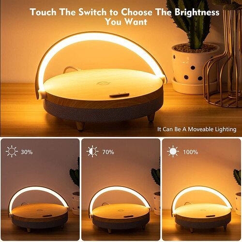 JACKYLED Bluetooth Speaker with Wireless Charger and Nightstand Night Light